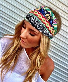 Aztec Boho Headband Cotton Wide Turban Head Scarf Hair Bands by Three Bird Nest… Turbans, Bandanas, Boho Fashion, Fashion Beauty, How To Wear Headbands, Boho Headband, Headband Hair, Estilo Boho, Scarf Hairstyles