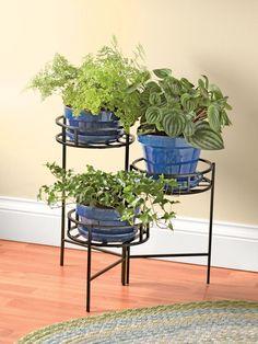 Metal Plant Stand: Nesting Triple Pot Plant Stand | Gardeners.com