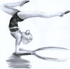 Dziewczynka, gimnastyczka rysowana ołówkiem