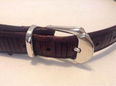 Mezlan Mens Brown Leather  Silver Tone Buckle & Tip Belt Made In Spain Sz 36 #Mezlan