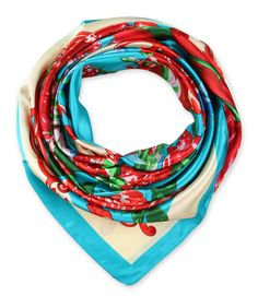 corciova Women's Graphic Print Silk Feeling Square Scarf Neckerchief 35x35 Inches Red and Electric Cyan $9.99 Free Shipping