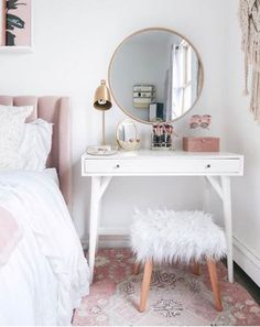 Vanity styling in a small space Small room Vanity as a night tis .Vanity styling in a small space Small room Vanity as a bedside table Blushing . Vanity styling in a small space Small Small Bedroom Vanity, Small Room Bedroom, Trendy Bedroom, Small Rooms, Small Spaces, Bedroom Ideas, Diy Bedroom, Modern Bedroom, Bed Room