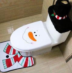 3Pcs/Set Christmas Decorations For Home Santa Claus Elk Snowman Toilet Seat Cover and Rug Bathroom Set Natal Navidad 2016