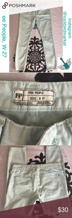Light blue skinny jeans Inseam is about 25 inches. Waist is about 14 1/4 inches and 1/4 inches laid flat. Thank you! Free People Jeans Skinny