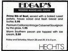 Russet Potatoes, Prime Rib Of Beef, Southern Pecan Pie, House Salad, Vintage Menu, Pie Tops, Fresh Bread