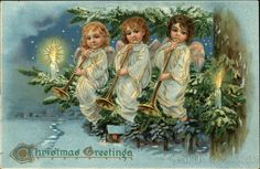Three Angels Playing Horns Christmas Series 102 Christmas Greetings