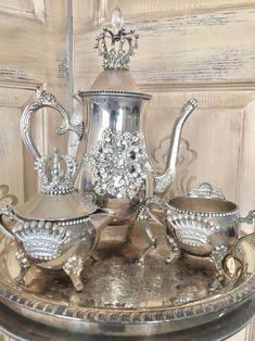 Vintage Tea, Vintage Decor, Vintage Silver, Silver Tea Set, Pottery Teapots, China Tea Sets, Tea Pot Set, Assemblage, Cottage Chic