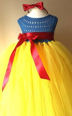 Snow White Luxury Princess dress, Flower girl dress, tutu dress, blue crochet top yellow tulle dress, knit tutu dress snow white
