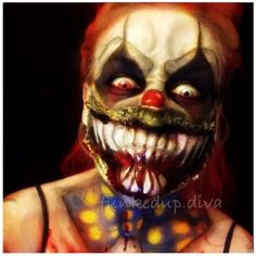 Evil clown makeup halloween face paint scary pennywise make up Horror Halloween Costumes, Creepy Halloween Makeup, Amazing Halloween Makeup, Halloween Hair, Halloween Ideas, Scary Clown Face, Clown Face Paint, Scary Faces, Evil Clowns