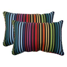 Use this set of two outdoor striped throw pillows to brighten your deck or patio quickly and easily. Also suitable for indoor use, each weather-resistant multicolor pillow features a sewn seam closure and soft polyester filling for added comfort.