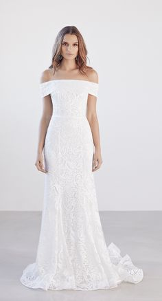 Off The Shoulder Straight Neckline Lace Fit And Flare Wedding Dress by Suzanne Harward - Image 1 zoomed in Wedding Dress Necklines, Lace Wedding Dress, Fit And Flare Wedding Dress, Bohemian Wedding Dresses, Gorgeous Wedding Dress, Best Wedding Dresses, Designer Wedding Dresses, Bridal Dresses, Wedding Gowns