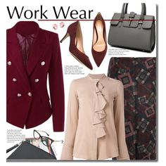 Work Wear by beebeely-look on Polyvore featuring мода, Lareida, Gianvito Rossi, WorkWear, ruffles, sammydress, officestyle and workblazer