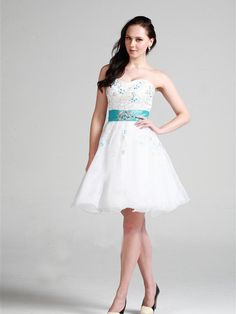 A-line Sweetheart Organza Short/Mini White Embroidery Homecoming Dress at dressestylish.com
