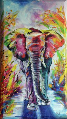 Elephant Painting by Kovacs Anna Brigitta