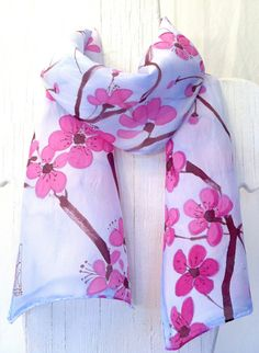 Hand Painted Silk Scarf, Blue Floral Scarf, Pink Plum Blossoms and Blue Sky. Blue Silk Scarf. 10x58 in. Made to Order.. $51.00, via Etsy.