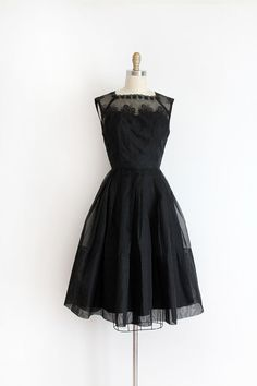 vintage 1950s dress // 50s black silk party dress by TrunkofDresses