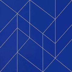 Duayne Hatchett, 1974; Untitled [white lines on blue 2] acrylic on canvas