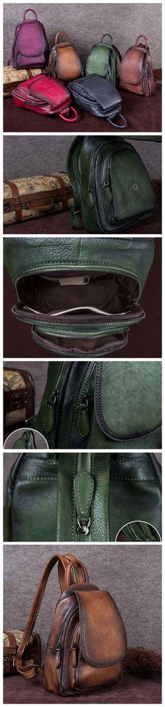 "$149.00 USD Loading reviews... Full Grain Leather Ladies Satchel Bag, Vintage Woman Backpack, Shoulder Bag A0132 Model Number: A0132 Dimensions: 9""L x 11.8""W x 4.7""H / 23cm(L) x 30cm(W) x 12cm(H) Weight: 3.3 lb / 1.5kg Hardware: Chrome Hardware Shoulder Strap: Adjustable Color: Deep Green/Purple/Dark Brown/Coffee/Gray/Red Features: 1. Genuine Natural Leather 2. Inside 1 Cell/Money Pocket, 1 Zipper Pocket 3. YKK Zipper 4. Adjustable Shoulder Strap 5. Can fit an 8"" Laptop Share Color"