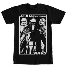 Join the first  with the Star Wars Kylo Ren and Crew Black T-Shirt! A white print on the front of this epic black Star Wars Episode 7 t-shirt shows Kylo Ren, a Stormtrooper, and Captain Phasma standing next to the Force Awakens logo.