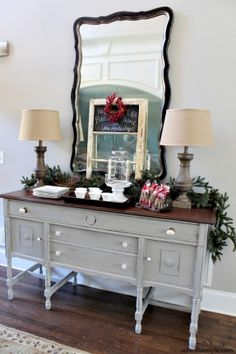 Home for the Holidays - holiday entertaining ideas Tips for easy entertaining, budget friendly decor and a stress free get together. Love the painted buffet. Refurbished Furniture, Paint Furniture, Furniture Projects, Furniture Making, Furniture Makeover, Cheap Furniture, Painted Buffet, Wood Buffet, Sideboard Buffet