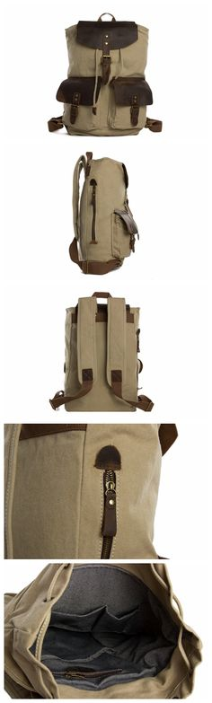 Camel Canvas Leather Backpack, Waxed Canvas Travel Backpack