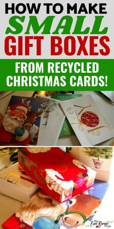 Are you looking for something to do with old recycled Christmas cards? Try making these small gift boxes! This great recycled craft is a fun way to use old Christmas cards and gives you small boxes for things like ornaments, jewelry, and gift cards!