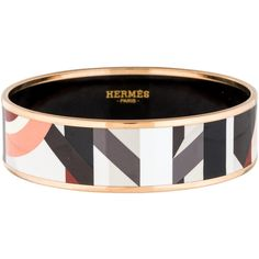 Pre-owned Hermes Wide Enamel Bracelet ($395) ❤ liked on Polyvore featuring jewelry, bracelets, multi color jewelry, enamel jewelry, tri color bangles, enamel bangle bracelet and gold tone jewelry