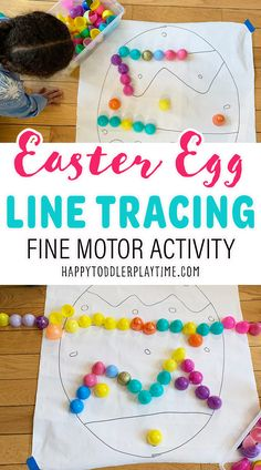 Easter Egg Line Tracing Activity - HAPPY TODDLER PLAYTIME Easter Activities For Toddlers, Toddler Learning Activities, Spring Activities, Infant Activities, Toddler Preschool, Preschool Crafts, Sensory Activities, Kid Crafts, Spring Projects