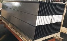 """Metal forming of steel panels.  11 Gauge HRS x 96"""" long covers.  Steeltec Products complete fabrication"""