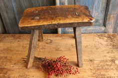 H 7 antique handcarved austrian STOOL bois table footstool by grainsack on Etsy Grainsack, Wooden Stools, Hand Carved, Autumn, Antiques, Table, Etsy, Home Decor, Antiquities