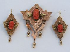14k Gold Victorian Demi Parure Coral Cameo Brooch/Pin Pendant and Earrings