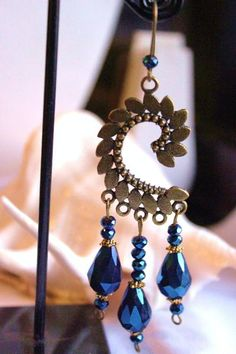 Bombay Bead by Sumita Acharya Chandelier Earrings, Drop Earrings, Handmade Design, Blue Beads, Electric Blue, Statement Jewelry, Washer Necklace, Paisley, Bronze