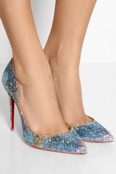 Christian Louboutin|Pigalle Follies 100 glitter-finished leather pumps|NET-A-PORTER.COM
