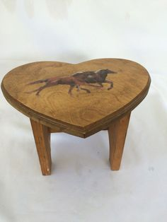 Vintage Heart Shaped Wooden Stool by ContemporaryVintage on Etsy
