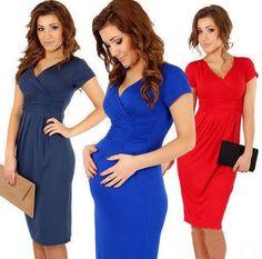 V-Neck Short Sleeves Knee-Length Pregnant Dress