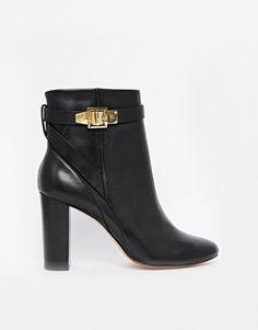 Enlarge Ted Baker Black Leather Micka Heeled Ankle Boots $196