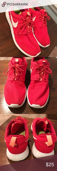 Nike roshe running sneakers Bright red color with orange accents. Nike roshe sneaker. Size 8.5 Nike Shoes Sneakers
