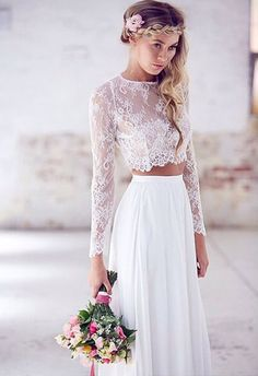 boho two piece lace bridal dress