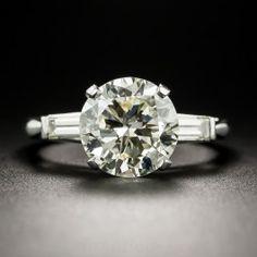 2.91 Carat Diamond Platinum Solitaire - GIA - Vintage Diamond Engagement Rings - Vintage Engagement Rings