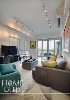 A redesign of this home at the Serenade sees luxury meet playfulness in a contemporary look at home interior design by Home Guide. Condo Interior Design, Couch, Contemporary, Luxury, Furniture, Ideas, Home Decor, Decoration Home, Room Decor
