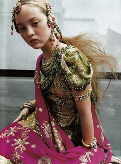 Devon Aoki in Couture Du Monde for Vogue Paris September 1999.