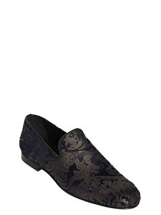 f290d994819 Jimmy Choo - Lasered Brocade Print Ponyskin Loafers Loafers