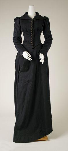 "Riding Habit: ca. 1893-1895, American, wool, silk. Marking: [label] ""Pfledging, Washington, D.C."""