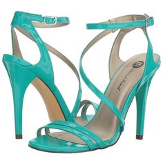 Michael Antonio Ester - Patent (Turquoise Patent) High Heels ($49) ❤ liked on Polyvore featuring shoes, sandals, turquoise sandals, michael antonio shoes, wrap sandals, high heel shoes and turquoise shoes