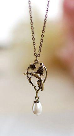 Hummingbird Necklace. Antique Brass Hummingbird... Cute or nahh?
