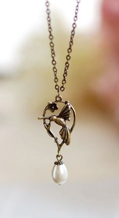 Hummingbird Necklace. Antique Brass Hummingbird
