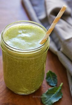 This green smoothie is PACKED with Super-foods! Kale, Banana, Chia, Hemp and Almond Milk