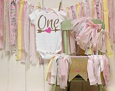 Pink with Yellow Birthday Outfit, Birthday Onesie, Cake Smash Outfit, Highchair Banner, 1st Birthday Set, Rag tie banner pink, Shabby Chic