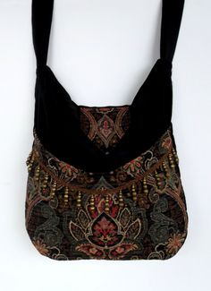 Black+and+Green+Tapestry+Gypsy+Bag+Messenger+Bag+by+piperscrossing,+$64.00