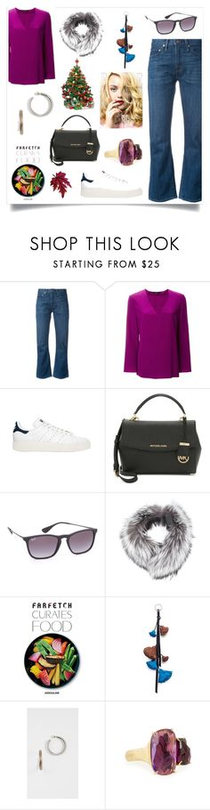 """""""Floral V-neck Blouse..**"""" by yagna on Polyvore featuring Levi's, Etro, adidas Originals, Ray-Ban, N.Peal, Assouline Publishing, Sonia Rykiel, Alexis Bittar and Marco Bicego"""